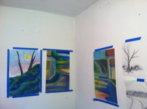 My studio wall at the residency! Very happy with the progress in my work.