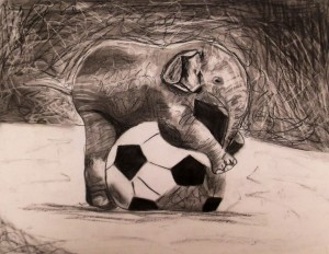 Charcoal of Baby Elephant