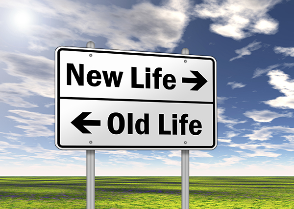 """Traffic Sign """"New Life vs. Old Life"""""""