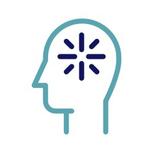 Icon stylized silhouette of a head with icon to symbolize thinking