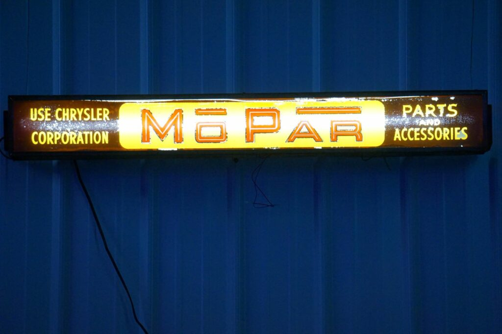 Mopar Parts & Accessories horizontal lighted box sign.
