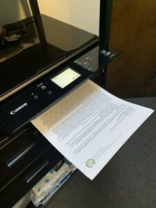 picture of a document printing