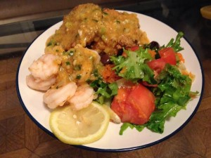 Remoulade Sauce over boiled shrimp and fried green tomatoes.
