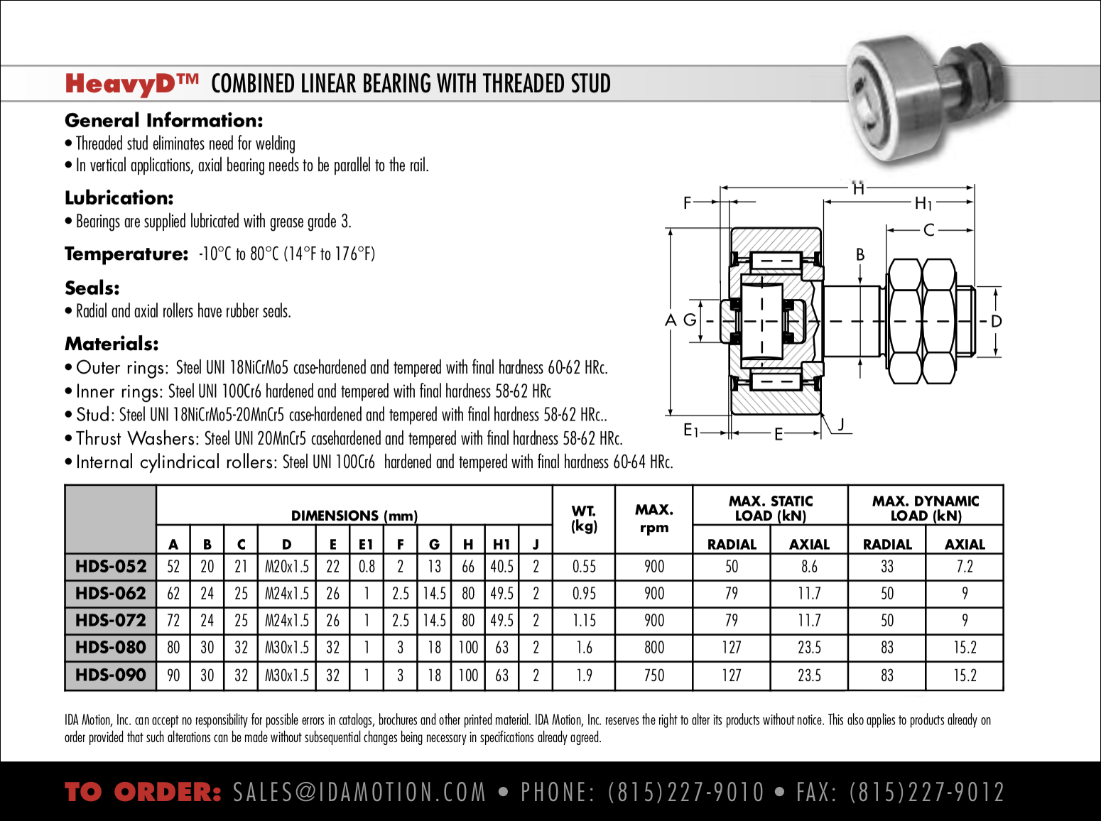 Combination Linear Bearing with Threaded Stud