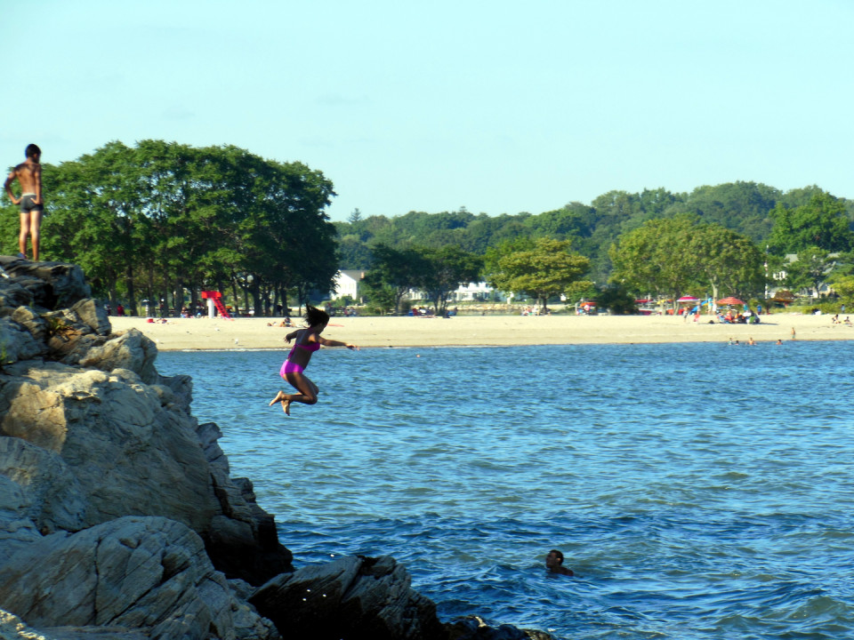 Cove Island Beach, Stamford, Connecticut - Located 45 mins from New York City. A good Place for family gathering with jogging trails, shallow waters protected by Long Island Sound making it a perfect place for kids.