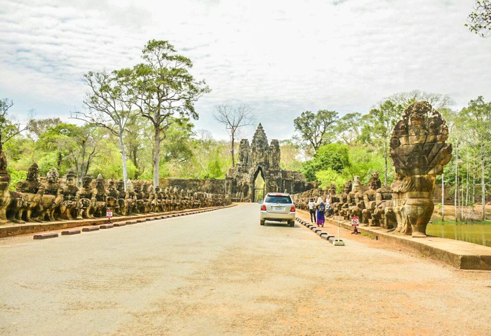 Gate to Angkor Thom or Angkor City - Asura and Deva statues holding Naga Serpent on both sides.