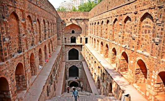 View of the Stepwell with the ASI workers renovating the well