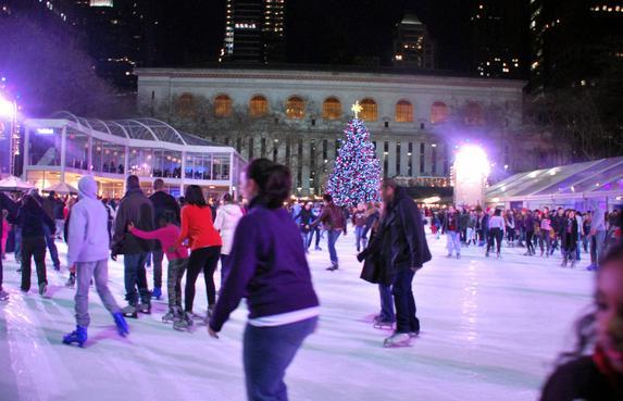 Skating in Bryant Park skating rink