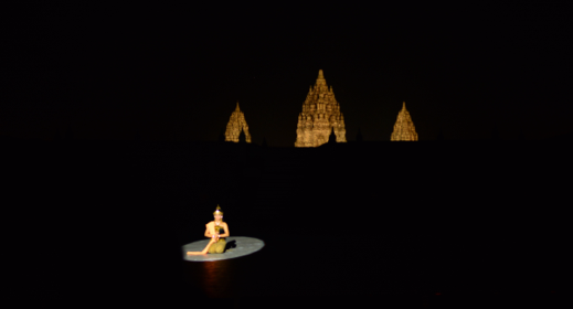 Ramayana Ballet with Prambanan Temple in the background. Scene – Sita in Lakshmana Rekha