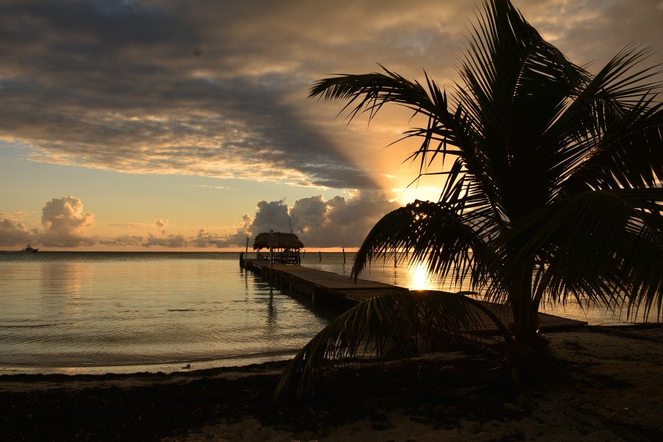 Gorgeous sunsets like this is quite common in Caye Caulker