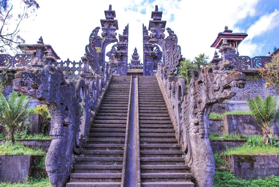 Top of Pura Besakih with the Naga Basuki Balustrades. Besakih name was derived from Naga Basuki,
