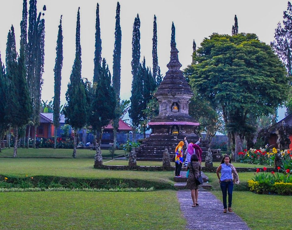 Buddha Stupa with the school girls from Java Island of Indonesia in the front.