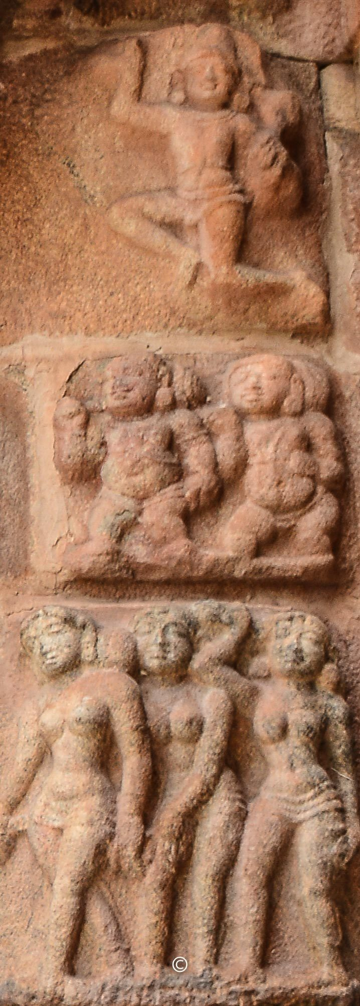 Leftside of the panel - Suryan on top, Boodha-Ganams in the middle, love-stricken women in the bottom