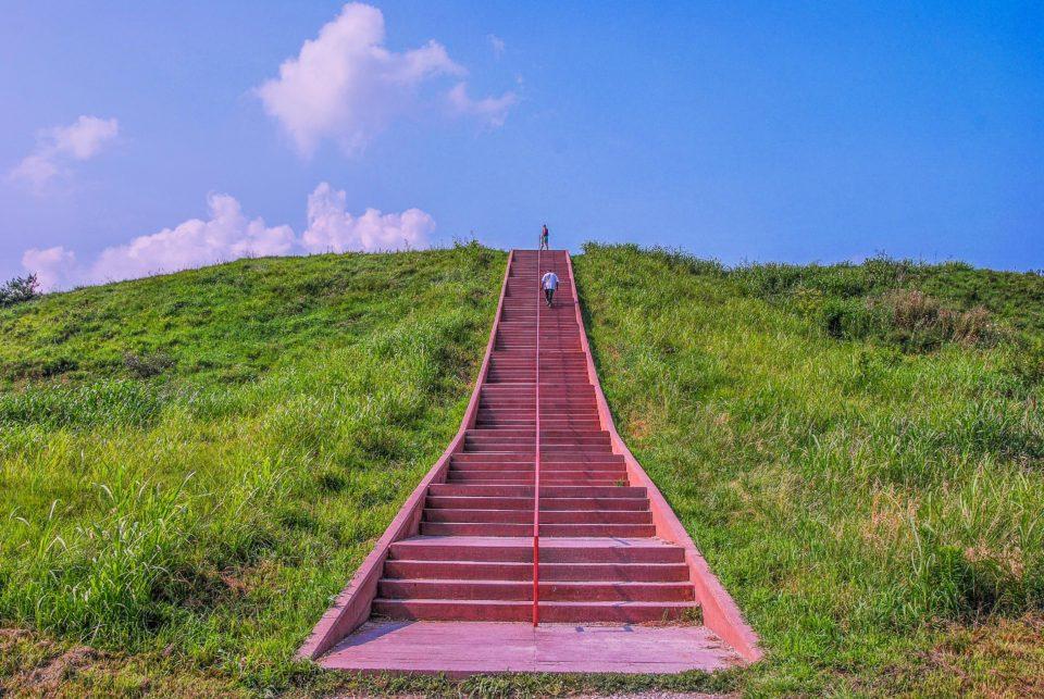 Climbing the Monks Mound
