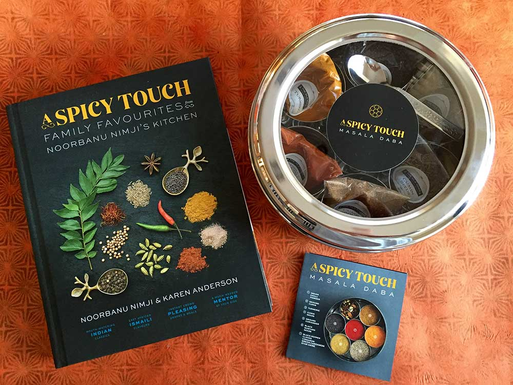 A Spicy Touch cookbook and masala daba spice box - photo credit - Karen Anderson