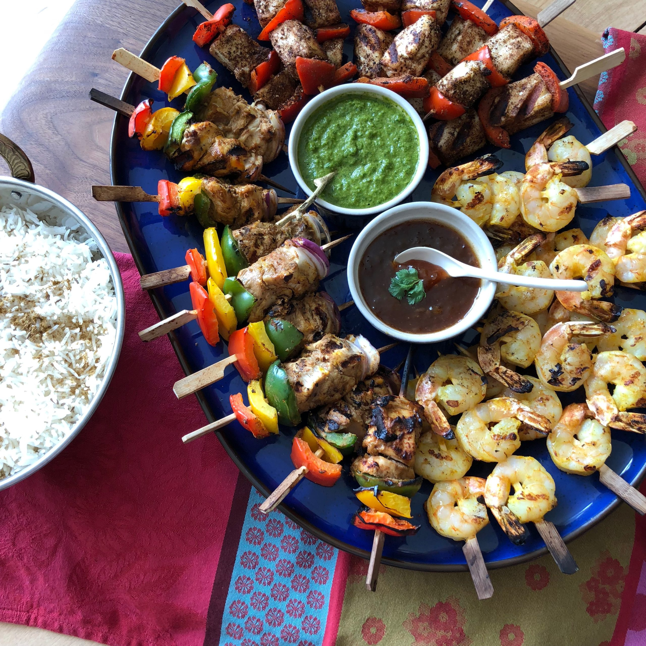 Butter Chicken kebabs, Garam Masala paneer and Tandoori Prawns