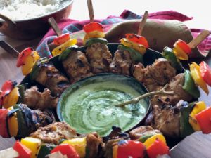 Butter Chicken kebabs with yogurt and apple mint chutney