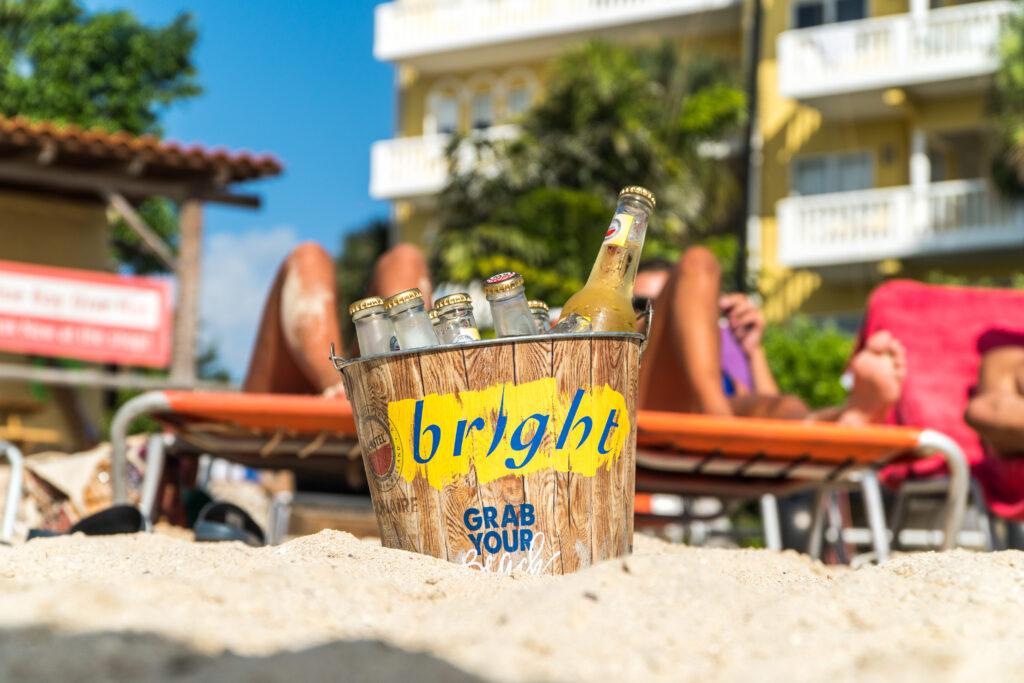 Bright beer bucket happy hour