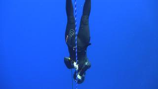 Freedive swimming down