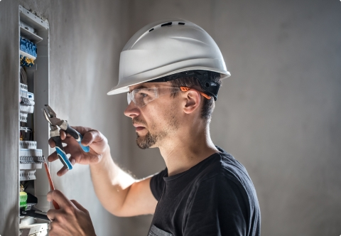 electric contractor fixing wires