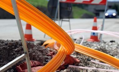 fiber installation on road