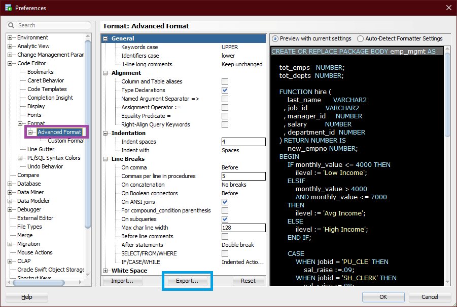 SQL Developer formatting preferences