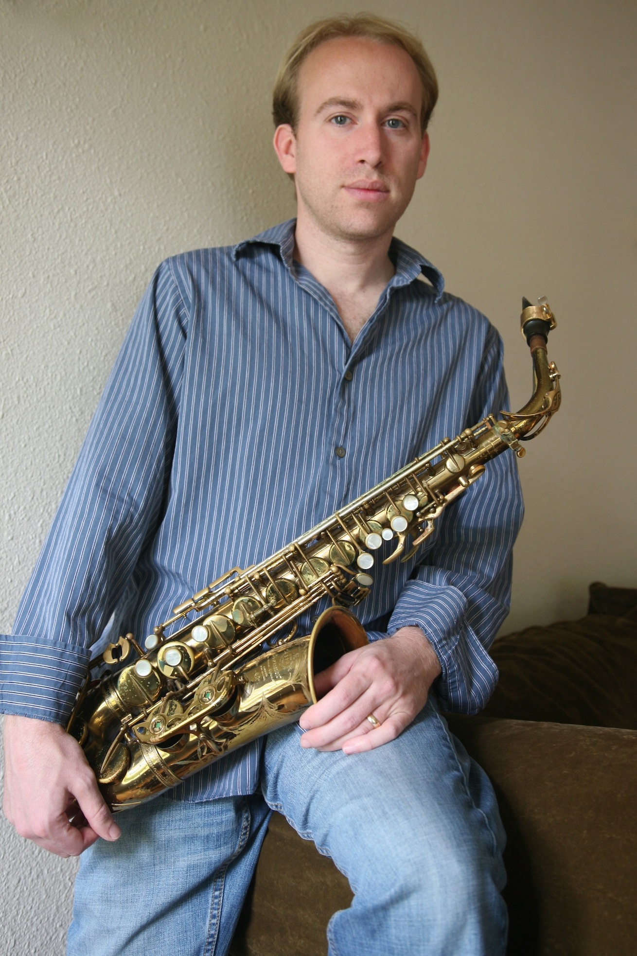 Jason Goldman with his saxophone.