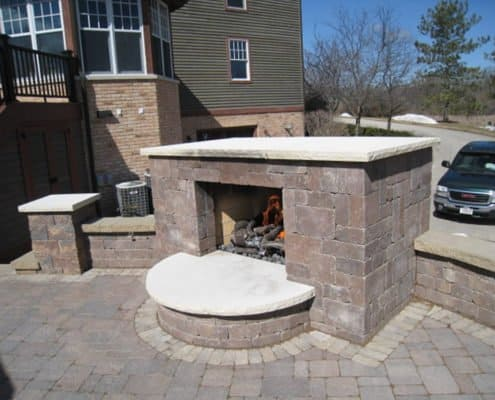 Outdoor Fireplace with Pillars & Wall