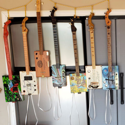 Handmade electric and acoustic cigar box guitars and portable amplifiers.