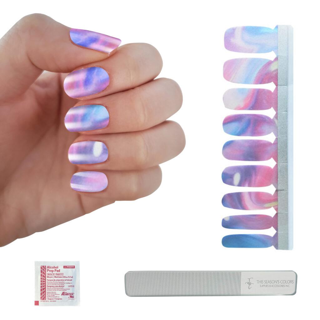 marbled pink and blue nail polish strips - summer nail polish