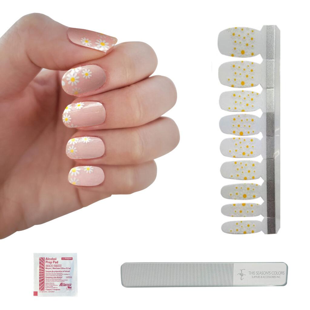 daisy nail polish strips - summer trends 2021