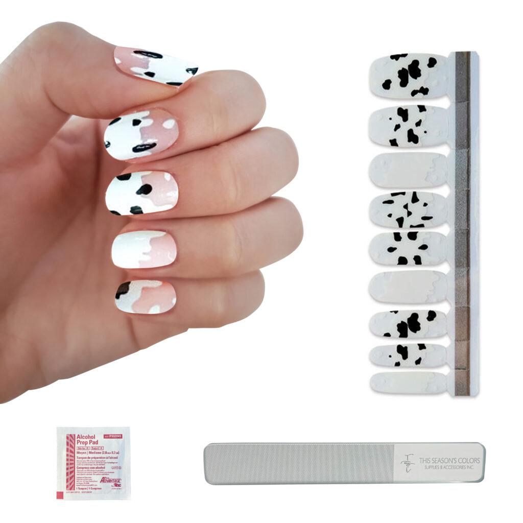 cow print nail polish strips - summer trends 2021