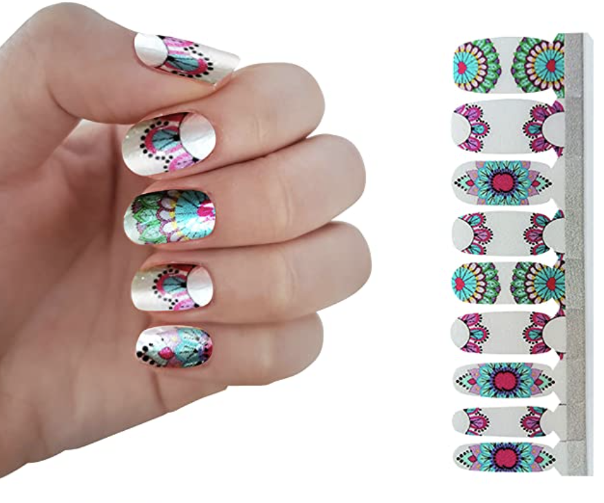 abstract art nail polish strips - summer trends 2021