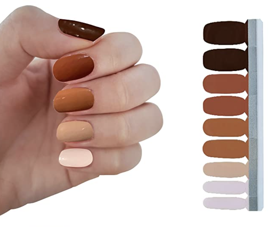 ombre skin tone brown nail polish strips -  summer nail art trends for 2021