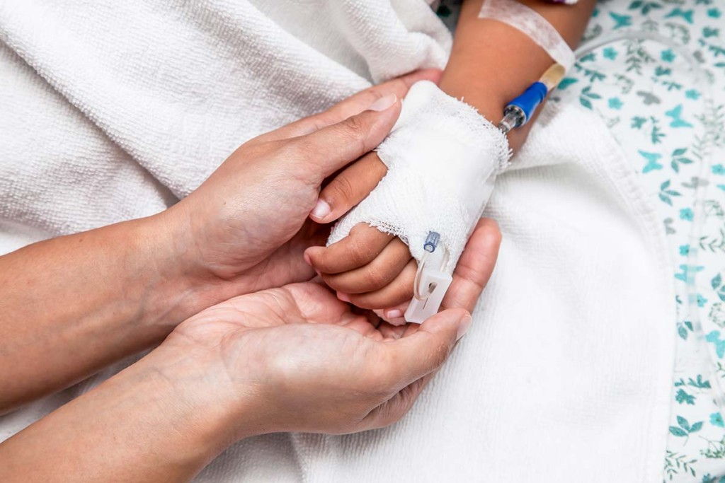 Childs Hand Who Havs Iv Inside Mobile Field Hospitals