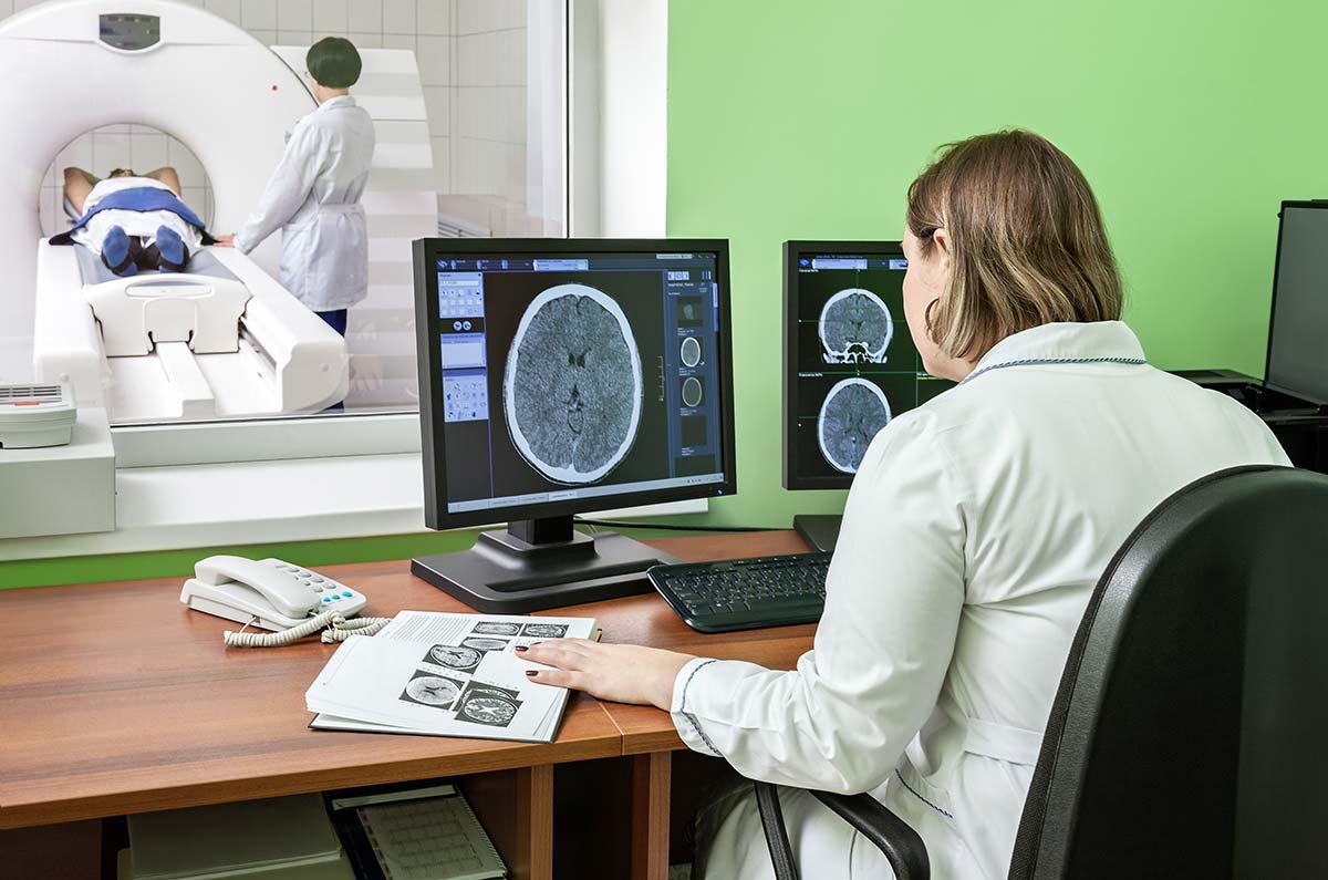 Magnetic Resonance Imaging Examination Inside Mobile Mri Facility