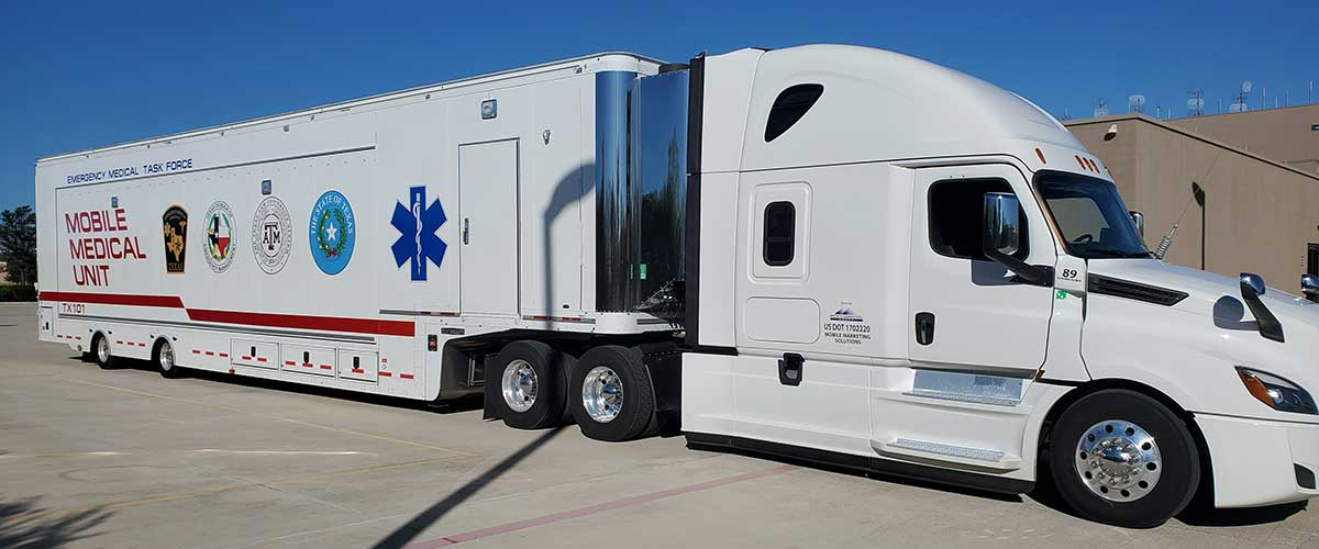 Photo Texas Emergency Covid  Mobile Icu Facility Front View Before Delivery