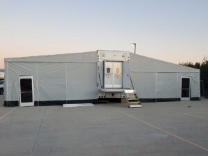 Photo Texas Emergency Covid  Mobile Icu Facility Back View After Install Wide