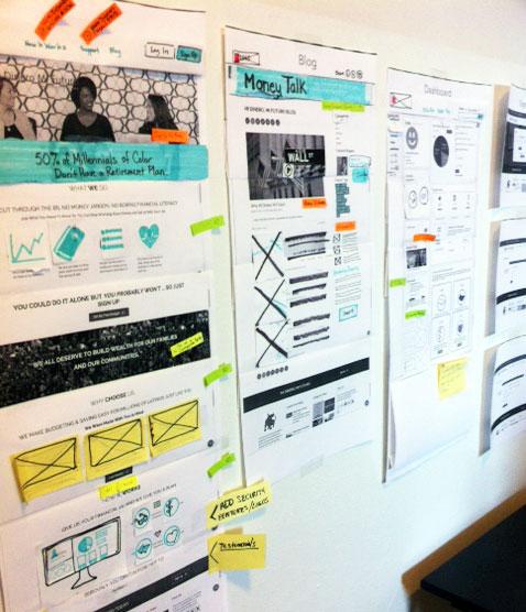 Paper responsive website wireframes