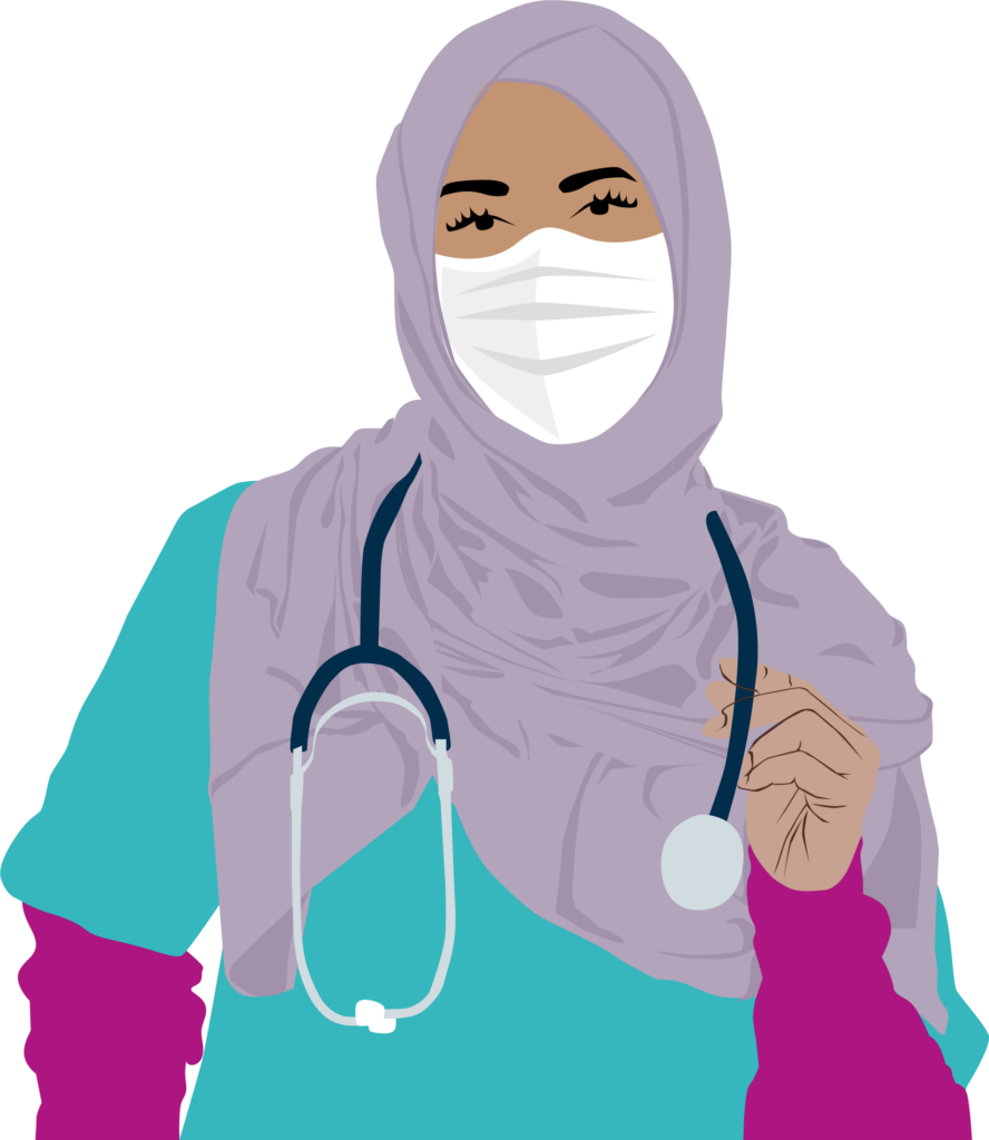 muslim women doctor with covid mask