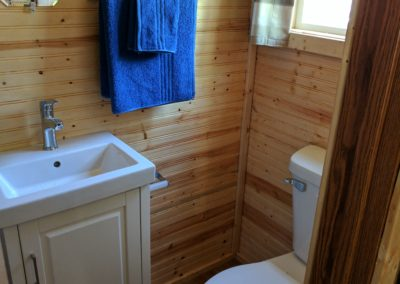 New River Tiny House hotel first floor full bathroom of tiny house