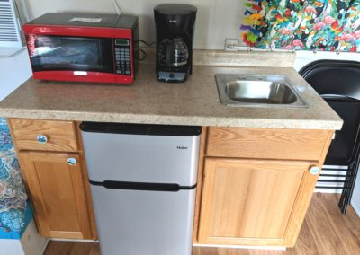 Airstream located at New River Gorge Campground looking at kitchenette area