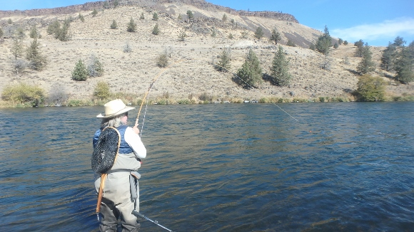 """A monster +20"""" whitefish putting a big bend in Mary Ann's 10'  6""""  bamboo Micro Spey."""