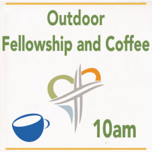 Picture of coffee cup and Ashland Church logo, 10am Fellowship and Coffee