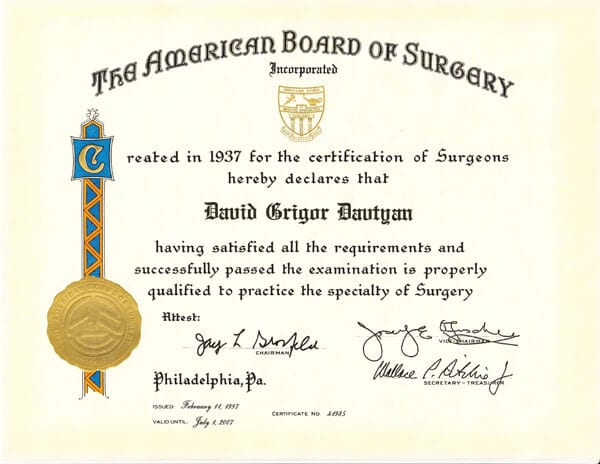 Dr. David G. Davtyan's 1937 American Board Of Surgeons Certification Qualified To Practice The Specialty Of Surgery