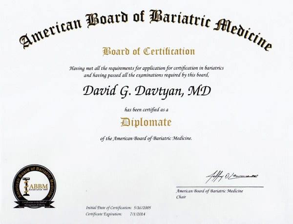 Dr. David G. Davtyan's 2005 American Board Of Bariatric Medicine Certification Los Angeles Ca