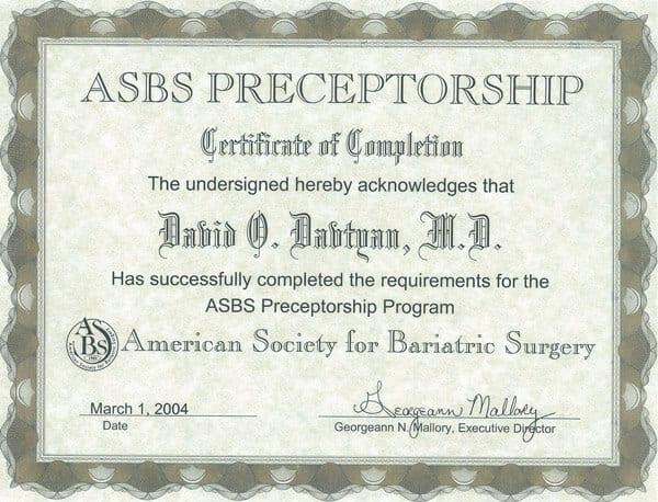 Dr. David Davtyan's 2004 Completion Of The Asbs Preceptorship Program Certificate