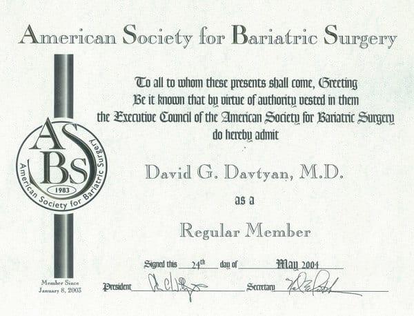 Dr. David G. Davtyan's 2004 American Society For Bariatric Surgery Regular Member Certification