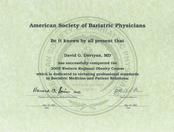 Dr. David G. Davtyan's 2003 American Society Of Bariatric Physicians Western Regional Obesity Course Completion Certificate