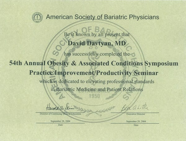 Dr. David Davtyan's 2004 Completion Certificate American Society Of Bariatric Physicians 54Th Annual Obesity Symposium